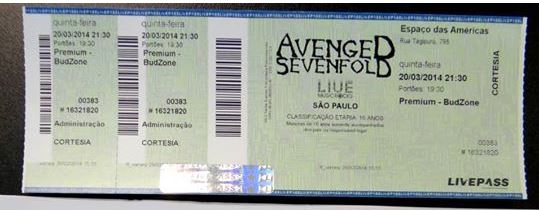 Ganhador Promo Compartilhamento Avenged Sevenfod no Facebook