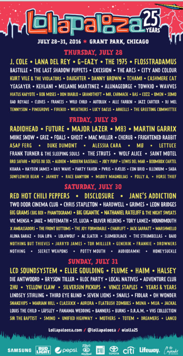 line up lolla
