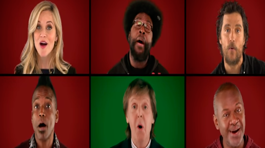 "Paul McCartney e elenco de ""Sing"" cantam à capela ""Wonderful Christmastime"""