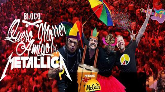 Bloco de carnaval vai tocar clássicos do Metallica