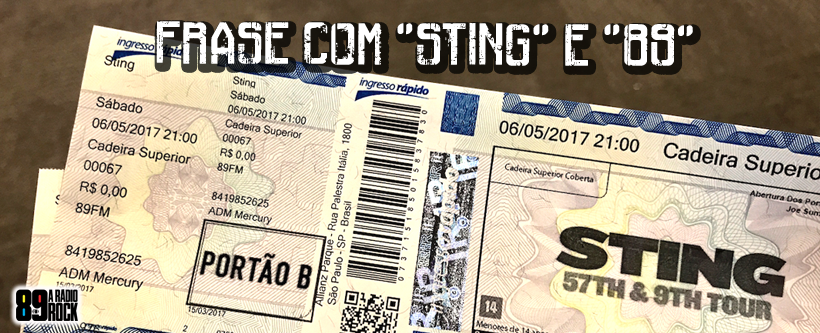 Concurso cultural: ingressos Sting via Facebook