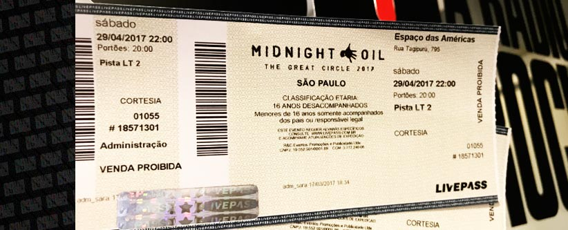 Ingressos para Midnight Oil em SP via Facebook