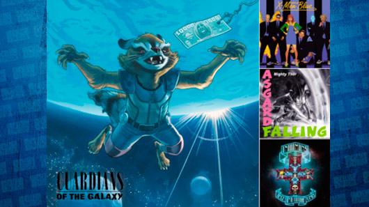 Discos de rock ganham novas capas com personagens da Marvel
