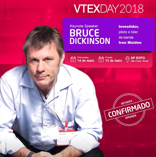 Resultado de imagem para Bruce Dickinson volta ao Brasil para palestra no VTEX Day 2018