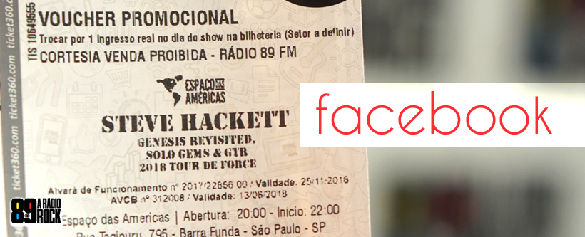 Ingressos Steve Hackett via Facebook