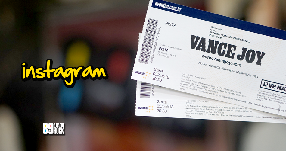 Ingressos para show do Vance Joy via Instagram