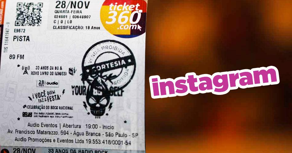 """Concurso """"Vem Comigo no Show da 89"""" via Instagram"""