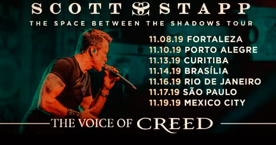 Confirmado! Scott Stapp, do Creed, anuncia seis shows no Brasil