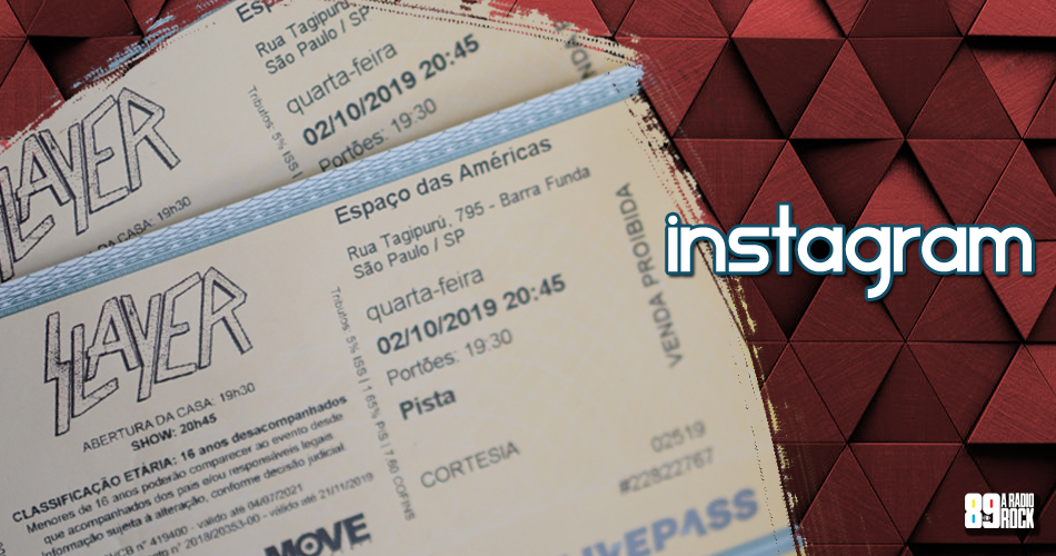 Ingressos show do Slayer via Instagram