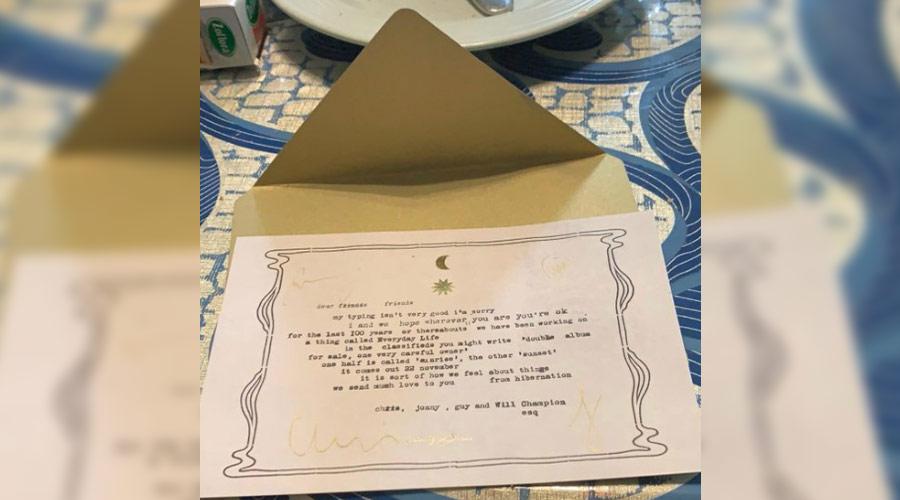 Coldplay anuncia chegada de novo álbum através de carta