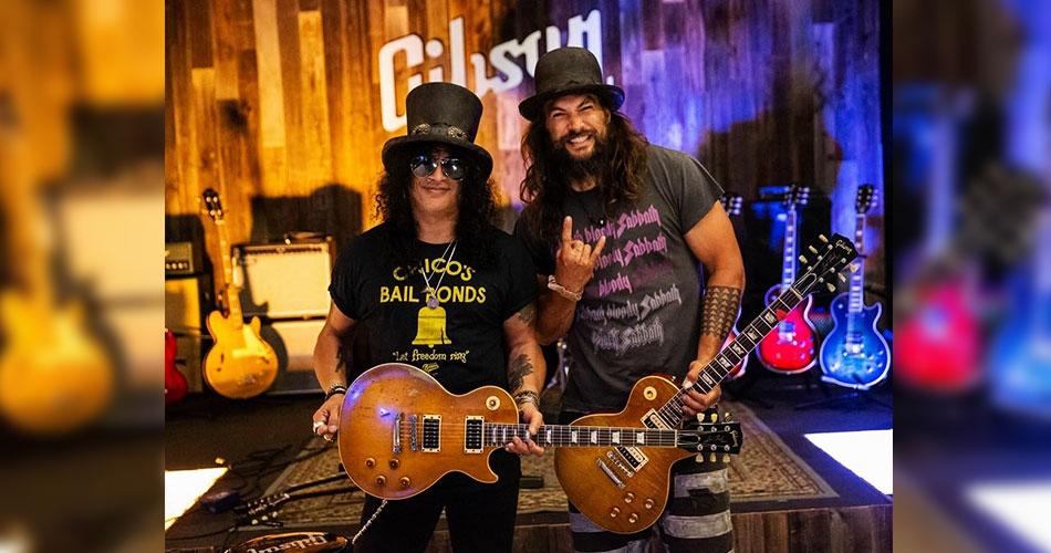 Jason Momoa e Slash se encontram em gravação da Gibson TV