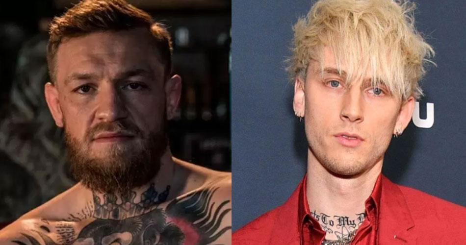 Machine Gun Kelly e Conor McGregor brigam no tapete vermelho do Video Music Awards